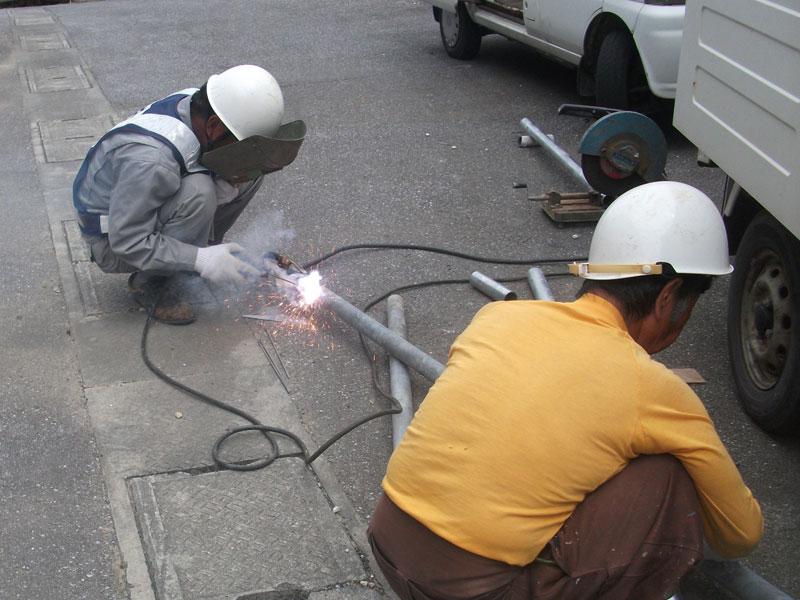 溶接材でのフェンス加工